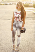 off white muscle Zara top - heather gray striped Bullhead pants