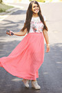 Coral-pleated-maxi-forever-21-skirt-silver-zara-t-shirt