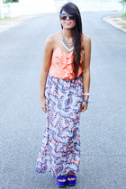 light purple skirt - light blue Forever 21 necklace - blue Forever 21 wedges
