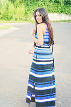 navy long stripped Zara dress