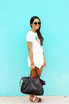 black Zara bag - white envelope Zara shorts