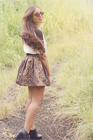 black Forever 21 shoes - brown Zara skirt - white Zara top