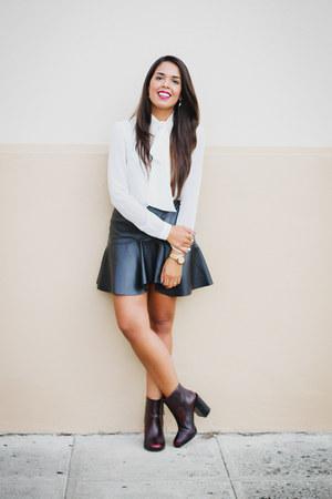 crimson ankle Zara boots - ivory bow Zara blouse