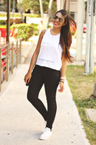white brandy melville top - black highwaisted Zara pants