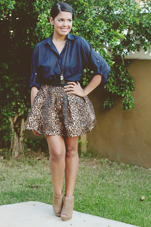 navy Zara blouse - brown Zara skirt