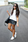 Black-faux-leather-forever-21-shorts-white-brandy-melville-top