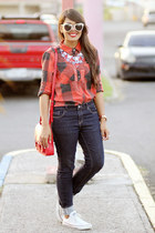 navy Zara jeans - ruby red Nollie shirt - silver statement baublebar necklace