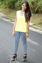 mustard Zara top - silver statement baublebar necklace - black Zara heels