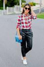 Ruby-red-plaid-forever-21-shirt-dark-brown-cat-eye-asos-sunglasses