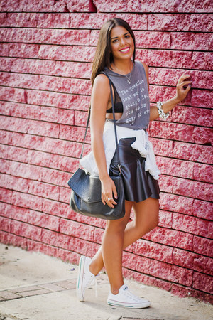 black faux leather Zara skirt - heather gray graphic tee brandy melville top