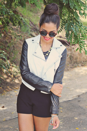 light blue jacket - black Zara shorts - dark brown H&M sunglasses