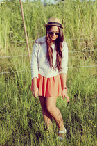 carrot orange Zara skirt - camel Urban Outfitters hat - silver hm sweater