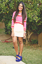 hot pink striped Forever 21 blouse - white peplum Zara skirt