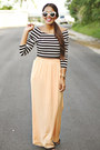 Black-striped-forever-21-top-peach-wide-zara-pants