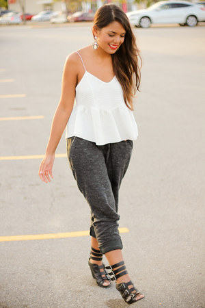 white Zara top - gray jogger Zara pants
