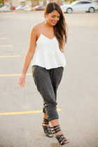 white Zara top - gray jogger Zara pants