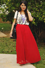 Black-zara-bag-ruby-red-pleated-maxi-forever-21-skirt-ivory-forever-21-top