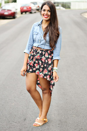black skirt - sky blue chambray Charlotte Russe top