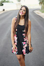 Black-floral-print-forever-21-dress-navy-quilted-bag