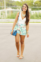 aquamarine Forever 21 shorts - blue Steve Madden bag - white Zara top