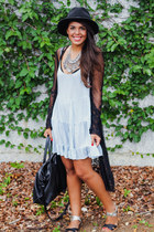 black Forever 21 hat - light blue brandy melville dress