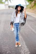 light pink kimono cardigan - sky blue boyfriend Zara jeans