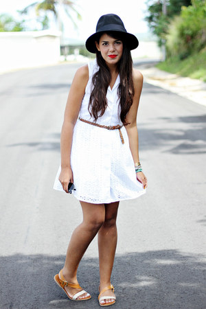 white eyelet dress - black Forever 21 hat - brown sandals