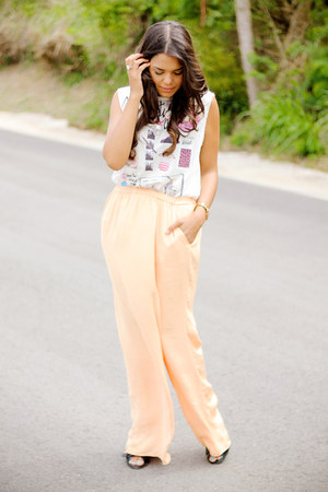 light orange Zara pants - white graphic tee Zara top