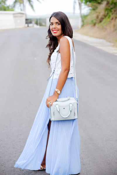 light blue shoulder Zara bag - sky blue pleated maxi Zara skirt