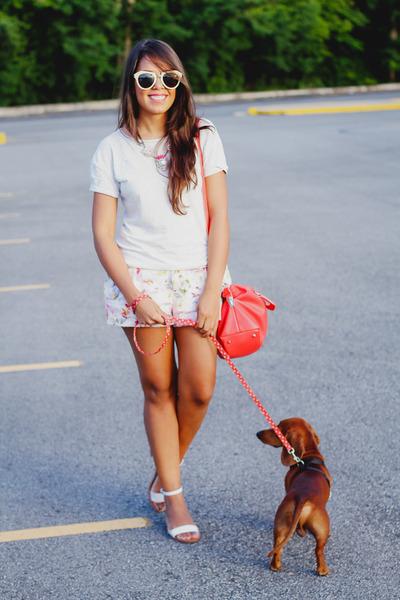coral Zara bag - light pink florals Zara shorts