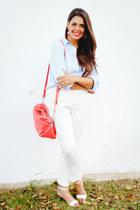 light blue Old Navy shirt - off white Zara pants