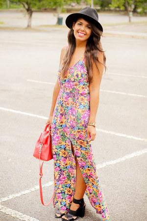 pink floral print LA hearts dress - black Shoedazzle heels