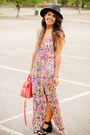 Dress-pink-floral-print-la-hearts-dress-black-shoedazzle-heels