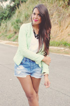 sky blue denim Forever 21 shorts - chartreuse tweed Zara blazer