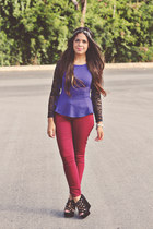 deep purple peplum top Forever 21 top - brick red skinnies Forever 21 pants