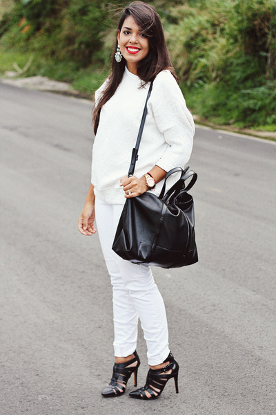 white Zara sweater - black Zara bag - black pointy Zara heels