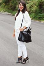 white Zara sweater - black Zara bag - black pointy Zara heels