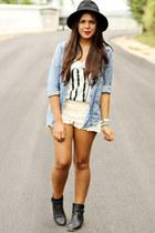 black Forever 21 hat - beige Zara shorts