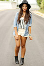 Black-forever-21-hat-beige-zara-shorts