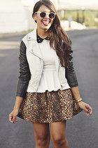 black jacket - white peplum top - dark brown leopard print Zara skirt