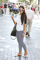 black Zara bag - white Zara top - navy patterned Forever 21 pants