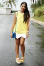 White-asymmetrical-zara-shorts-mustard-jacquard-print-zara-top