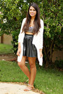 Black-faux-leather-skirt-ivory-knitted-cardigan