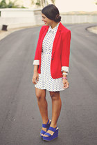 blue Forever 21 wedges - white Forever 21 dress - red Zara blazer