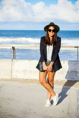 navy Zara blazer - teal beaded Zara bag