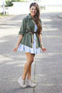 Light-blue-denim-acid-wash-h-m-dress-silver-lace-ups-wedges