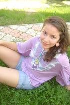 purple vintage blouse - blue Mango shorts - beige Claires earrings