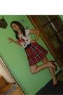 White-bershka-t-shirt-red-shirt-red-dorothy-perkins-shoes