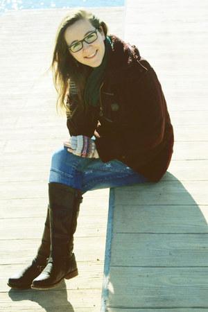 dark brown leather Arian boots - crimson flannel-wool green coast coat