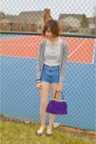white vintage blouse - purple purse - blue DIY shorts